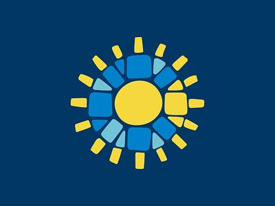 Mosaic—C—Sun Mark california yellow blue tiles logo mosaic sun mark c