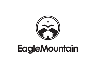 Eagle Mountain City Unused Logo 1 black design utah eagles crest community home house eagle logo city mountain eagle