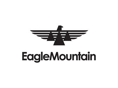 Eagle Mountain City Unused Logo 2 city brand bird wings fly black mountain eagle utah icon logo