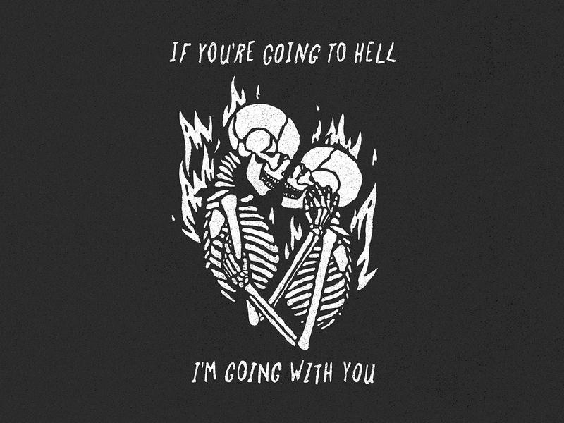 Burn hell fire skeleton skull texture vintage retro typography design character art vector illustration
