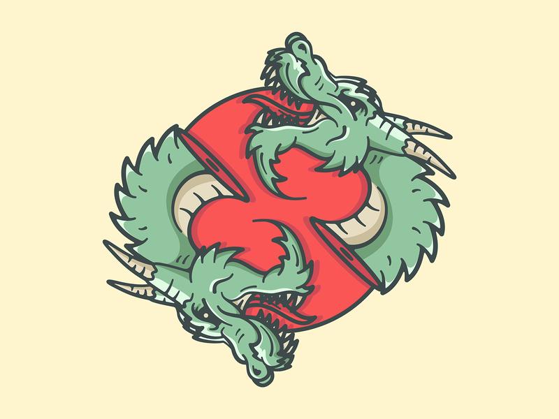 Double Dragon logo teeth chinese china japan sun blood dragon design character art vector illustration