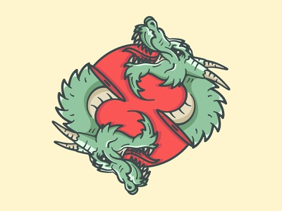 Double Dragon logo teeth chinese china japan sun blood dragon design character art vector illustration