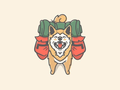 Shiba Inu japanese backpack hiking camping hike doge dog cartoon icon character art vector logo illustration