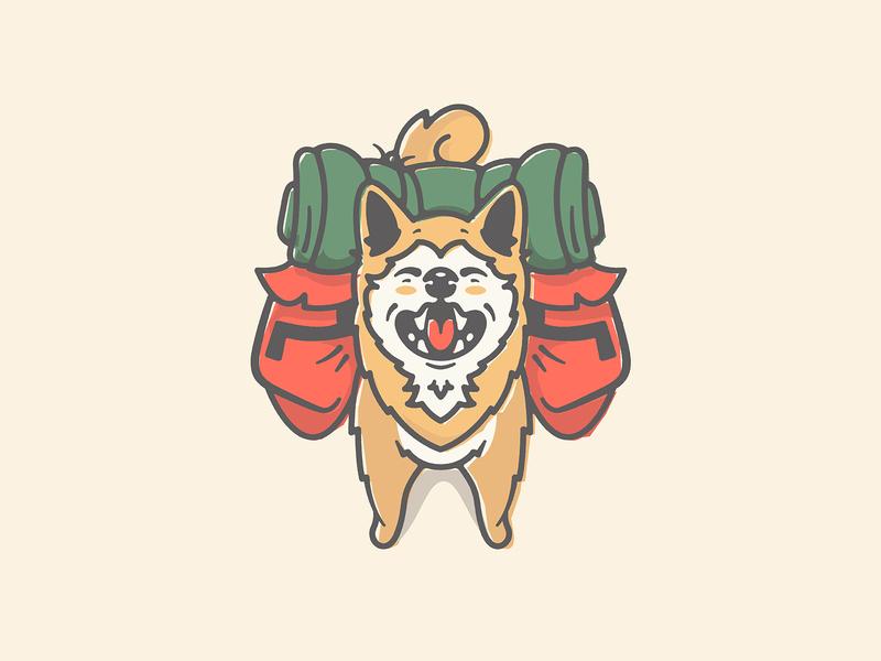 Shiba Inu japanese backpack hiking camping hike doge dog cartoon icon character art vector logo illustration