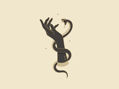 bite snake female hand vintage icon design art vector logo illustration