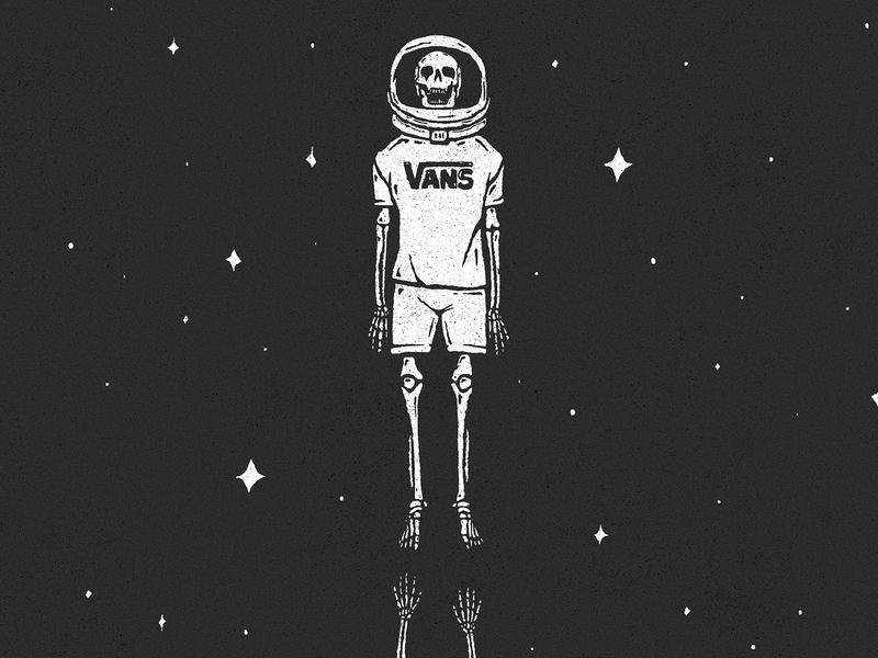 Rise skull vans dead helmet space skeleton texture vintage retro design character art illustration
