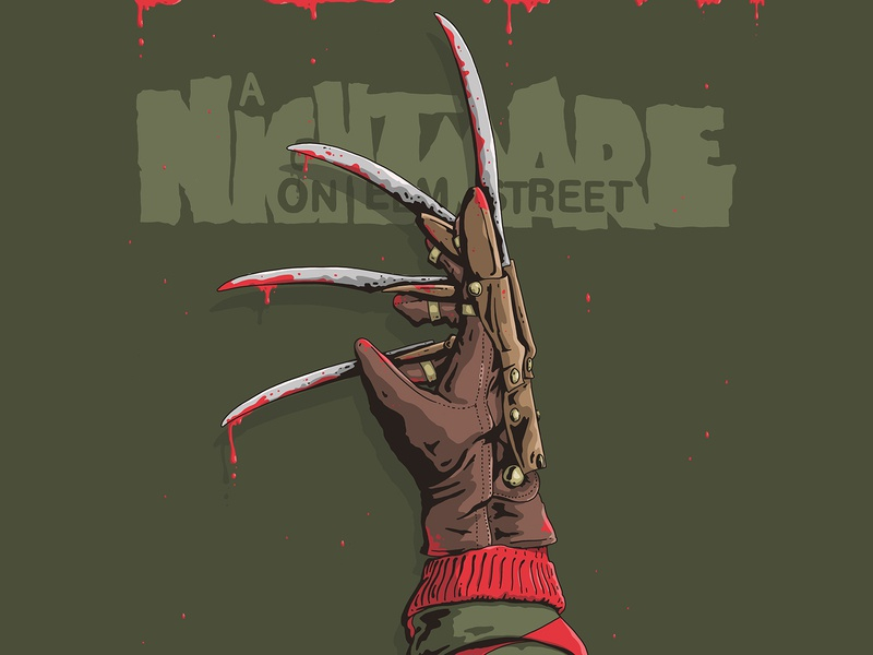 welcome to primetime bitch! design character glove knife logo type sweater blade knife blood nightmare on elm street freddy krueger freddy horror illustration