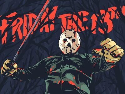 Part 6 vorhees jason friday the 13th horror typography design character logo illustration