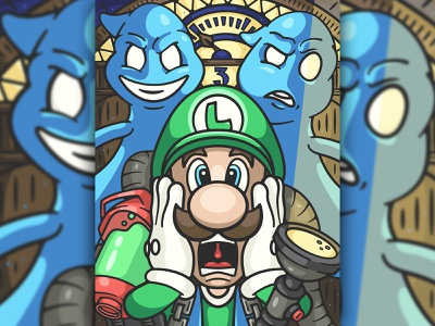 luigi's mansion 3 18x24 poster 3 game ghost luigi mario cartoon design character art vector logo illustration