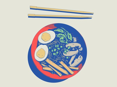 rayman food lunch japanese food chopsticks soup ramen japanese art japanese vintage retro design art illustration