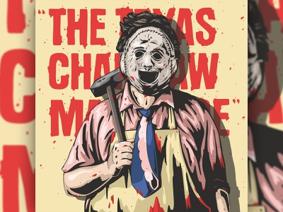 leatherface chainsaw texas horror texture typography character design art vector logo illustration