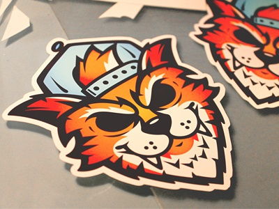 Kat Stickers illustration snapback hat tiger cartoon character