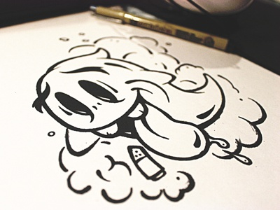 Smokin Ghost Sticker Sketch