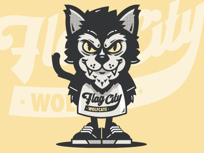 Mascat lol character cartoon sneakers shoes shirt baseball script typography kitty cat mascot illustration
