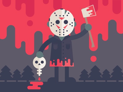 What a cutie vector halloween trees woods blood axe friday the 13th jason illustration