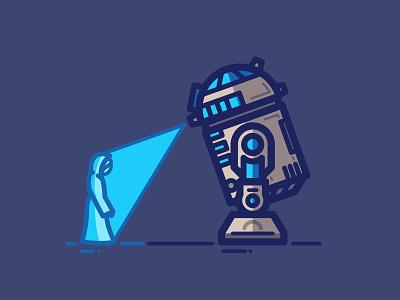 Hope robot droid hologram art vector star wars a new hope r2d2 leia illustration