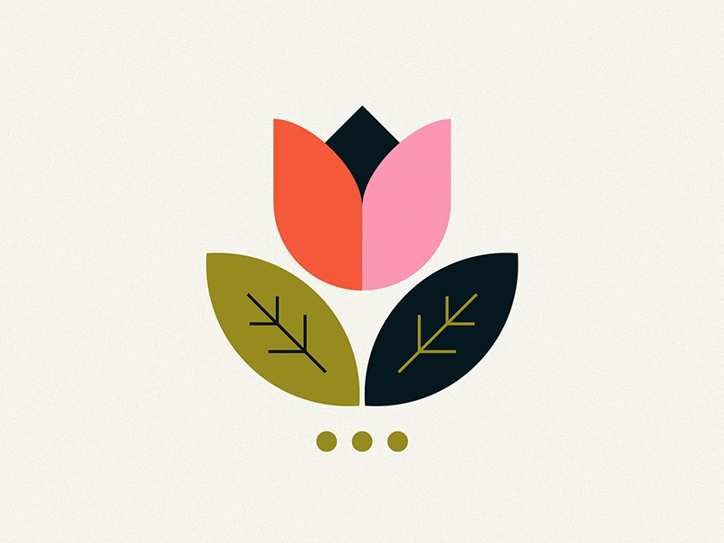 Flower logo icon leaf logo colors cute leaf tulip flower vintage retro illustration