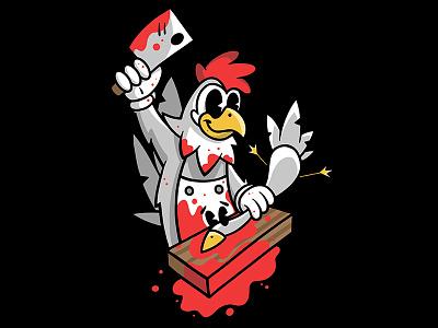 Chicken wings blood butcher bird knife chicken design vintage retro cartoon art character vector logo illustration