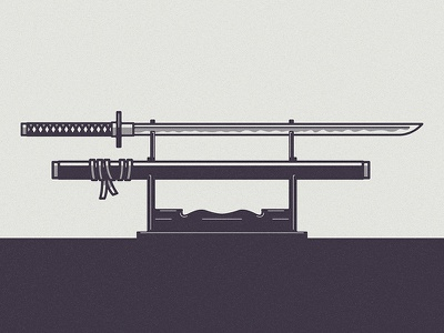 Ninjatō japanese japan sword samurai ninja katana blade texture print vintage design retro icon art vector logo illustration