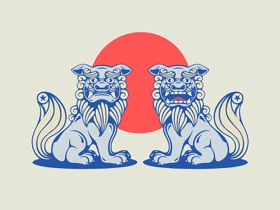 Komainu apple pencil apple procreate star lion sun asian japanese japan dog texture print vintage design icon art vector logo illustration