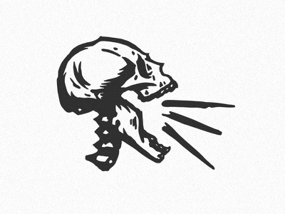 ouch! skeleton scream yell texture print skull design retro cartoon icon art character vector logo illustration
