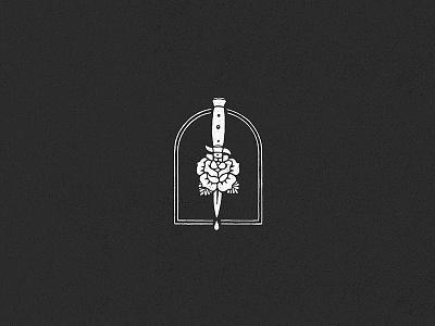 Alone blood flower switchblade knife procreate apple applepencil rose vintage design retro art logo illustration