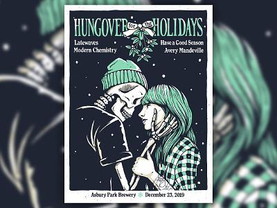Hungover for the Holidays 2019 holiday christmas mistletoe girl skull skeleton emo band gigposter gig poster print vintage design retro character typography art illustration
