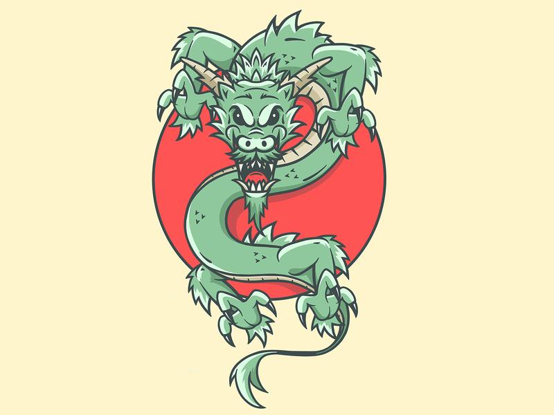 dragon red cartoon dragon sun japanese japan design character art logo illustration