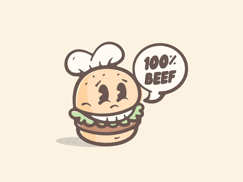 100% Beef chef hat chef meat burger cartoon print vintage retro design typography character art vector logo illustration