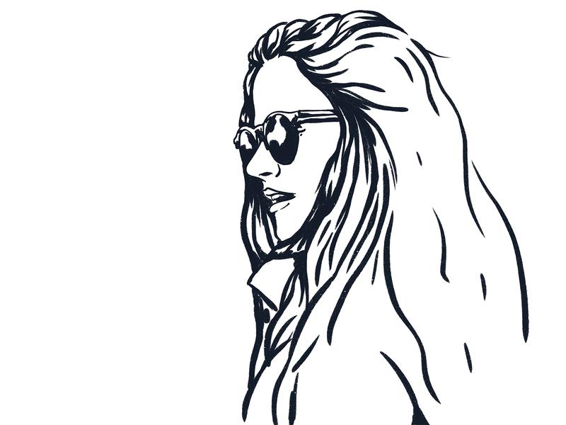 Bren portrait hair sunglasses glasses girl marker brush vintage retro design character art illustration
