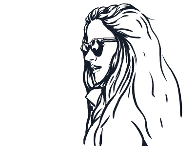 Bren portrait hair sunglasses glasses girl marker brush vintage retro design character art illustration