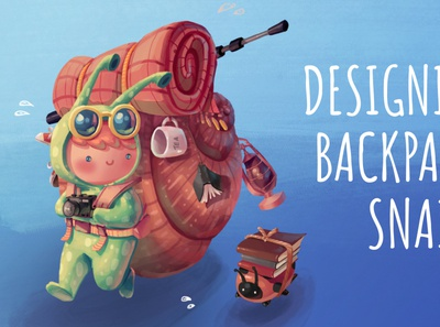 Character Design Process video character desing snail backpacker character development art animation concept art character draw sketch character design drawing illustration