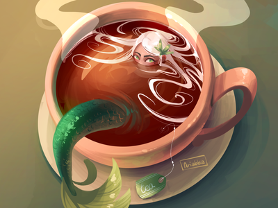 Tea art character character design sketch draw drawing illustration mermay mermaid tea
