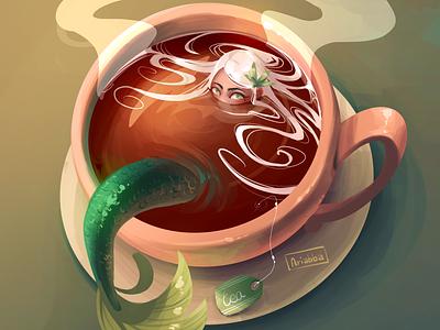 Tea art character character design sketch draw drawing illustration mermay mermaid tea