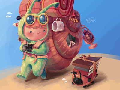 Snail back packer, Process video character concept art draw character design drawing illustration ladybug backpacker snail