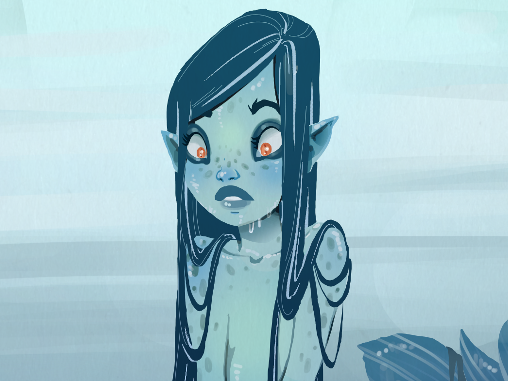 Another mermaid, a curious one mermay mermaid art sketchbook animation concept art character draw sketch character design drawing illustration