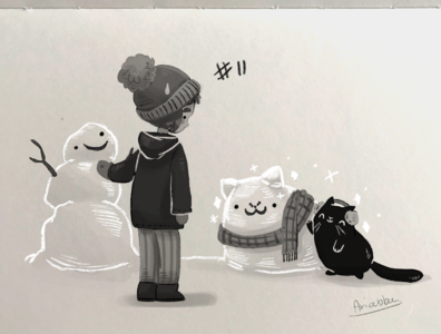 inktober 11 - snow procreate inkdrawing inktober snowman cat snow character draw sketch character design drawing illustration
