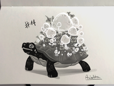 Inktober Day 14 - Overgrown mushroom turtle overgrown inktober sketchbook concept art character draw sketch character design drawing illustration