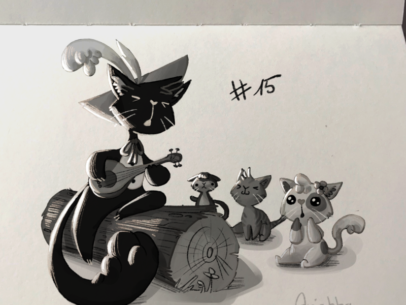Inktober Day 15 - Legend cat legend inktober sketchbook concept art character draw sketch character design drawing illustration