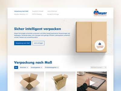 Mayer Kartonagen search filter menu button hero packaging ui kirby desktop website web webdesign