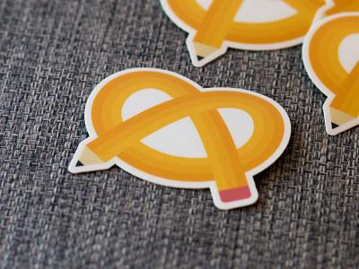 Pretzel pen sticker sticker logo branding