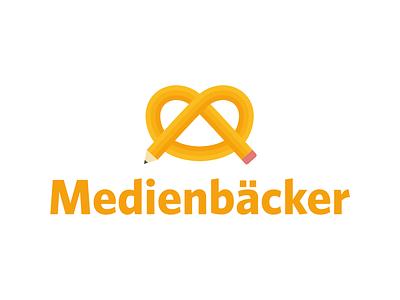 Medienbäcker Branding pen pretzel illustration baker branding logo