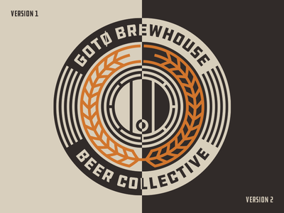 Gotö Brewhouse Beer Collective wreath wheat print logo laurel corn coasters circular circle beer barrel
