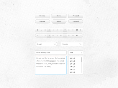 UI kit thing ui buttons pagination textarea input search dropdown select freebie free psd