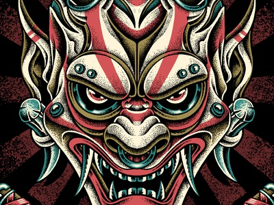 Oni Demon traditional japanese art hannya demon oni pointillism clothing tattoo merchandise bodilpunk illustration drawing