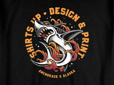 Shark Attack screen printing jaws shark clothing branding apparel traditional pointillism tattoo artwork merchandise bodilpunk illustration drawing