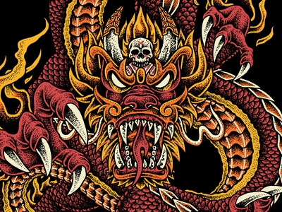 Dragon King skull dragonball god dragon bandmerch pointillism clothing teedesign tattoo artwork merchandise bodilpunk illustration drawing