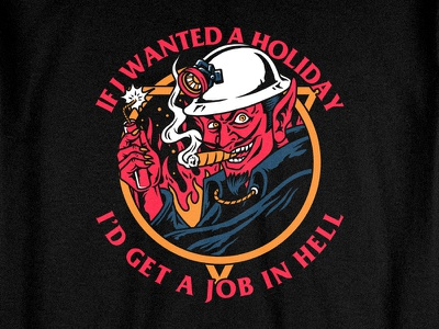 Hells Holiday dynamite miner red devils devil satan teedesign clothing apparel bandmerch tattoo artwork merchandise bodilpunk illustration drawing