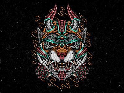 Hannya Tiger bodilpunk apparel clothing teedesign tattoo drawing mythology japanese tiger hannya oni