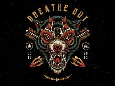 Deadly Hunter bodilpunk dotwork teedesign clothing drawing illustration artwork tattoo wolf
